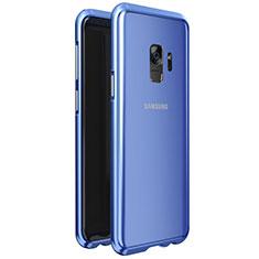 Coque Rebord Bumper Luxe Aluminum Metal Miroir 360 Degres Housse Etui M01 pour Samsung Galaxy S9 Bleu