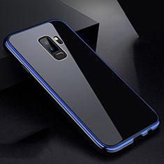 Coque Rebord Bumper Luxe Aluminum Metal Miroir 360 Degres Housse Etui M01 pour Samsung Galaxy S9 Plus Bleu et Noir
