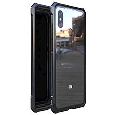 Coque Rebord Bumper Luxe Aluminum Metal Miroir 360 Degres Housse Etui M01 pour Xiaomi Mi 8 Noir