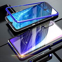 Coque Rebord Bumper Luxe Aluminum Metal Miroir 360 Degres Housse Etui M01 pour Xiaomi Mi A3 Lite Bleu