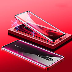 Coque Rebord Bumper Luxe Aluminum Metal Miroir 360 Degres Housse Etui M01 pour Xiaomi Redmi K20 Pro Rouge