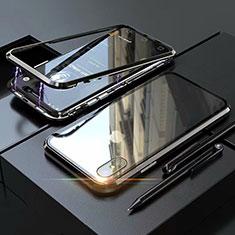 Coque Rebord Bumper Luxe Aluminum Metal Miroir 360 Degres Housse Etui M02 pour Apple iPhone X Noir