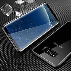 Coque Rebord Bumper Luxe Aluminum Metal Miroir 360 Degres Housse Etui M02 pour Samsung Galaxy S8 Plus Noir