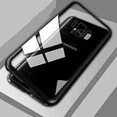 Coque Rebord Bumper Luxe Aluminum Metal Miroir 360 Degres Housse Etui M04 pour Samsung Galaxy S8 Noir