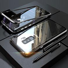 Coque Rebord Bumper Luxe Aluminum Metal Miroir 360 Degres Housse Etui M04 pour Samsung Galaxy S9 Plus Noir