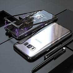 Coque Rebord Bumper Luxe Aluminum Metal Miroir 360 Degres Housse Etui M05 pour Samsung Galaxy S8 Plus Noir
