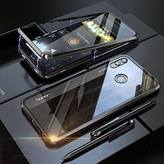 Coque Rebord Bumper Luxe Aluminum Metal Miroir 360 Degres Housse Etui P01 pour Huawei Honor V10 Lite Noir