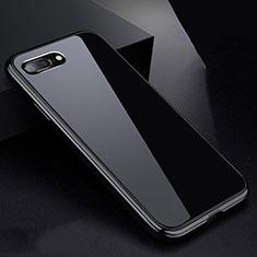 Coque Rebord Bumper Luxe Aluminum Metal Miroir 360 Degres Housse Etui pour Apple iPhone 8 Plus Noir