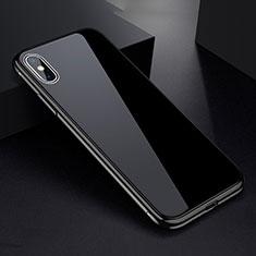 Coque Rebord Bumper Luxe Aluminum Metal Miroir 360 Degres Housse Etui pour Apple iPhone X Noir
