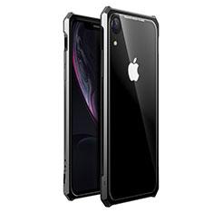 Coque Rebord Bumper Luxe Aluminum Metal Miroir 360 Degres Housse Etui pour Apple iPhone XR Noir