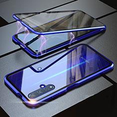 Coque Rebord Bumper Luxe Aluminum Metal Miroir 360 Degres Housse Etui pour Huawei Honor 20S Bleu