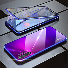Coque Rebord Bumper Luxe Aluminum Metal Miroir 360 Degres Housse Etui pour Huawei Nova 5 Pro Bleu