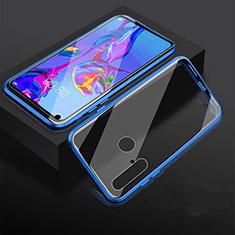 Coque Rebord Bumper Luxe Aluminum Metal Miroir 360 Degres Housse Etui pour Huawei P20 Lite (2019) Bleu