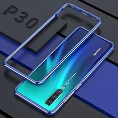 Coque Rebord Bumper Luxe Aluminum Metal Miroir 360 Degres Housse Etui pour Huawei P30 Bleu