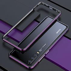 Coque Rebord Bumper Luxe Aluminum Metal Miroir 360 Degres Housse Etui pour Huawei P30 Violet