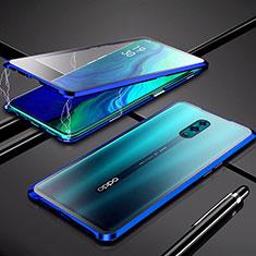Coque Rebord Bumper Luxe Aluminum Metal Miroir 360 Degres Housse Etui pour Oppo K3 Bleu