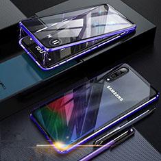 Coque Rebord Bumper Luxe Aluminum Metal Miroir 360 Degres Housse Etui pour Samsung Galaxy A70 Bleu