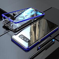 Coque Rebord Bumper Luxe Aluminum Metal Miroir 360 Degres Housse Etui pour Samsung Galaxy Note 8 Duos N950F Bleu