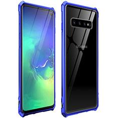 Coque Rebord Bumper Luxe Aluminum Metal Miroir 360 Degres Housse Etui pour Samsung Galaxy S10 Bleu