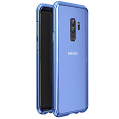 Coque Rebord Bumper Luxe Aluminum Metal Miroir 360 Degres Housse Etui pour Samsung Galaxy S9 Plus Bleu