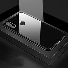 Coque Rebord Bumper Luxe Aluminum Metal Miroir 360 Degres Housse Etui pour Xiaomi Mi 8 Noir