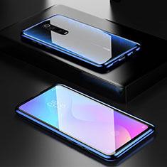 Coque Rebord Bumper Luxe Aluminum Metal Miroir 360 Degres Housse Etui pour Xiaomi Redmi K20 Bleu