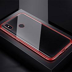 Coque Rebord Bumper Luxe Aluminum Metal Miroir 360 Degres Housse Etui pour Xiaomi Redmi Note 7 Pro Rouge
