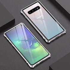Coque Rebord Bumper Luxe Aluminum Metal Miroir Housse Etui A01 pour Samsung Galaxy S10 Argent