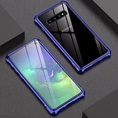 Coque Rebord Bumper Luxe Aluminum Metal Miroir Housse Etui A01 pour Samsung Galaxy S10 Bleu