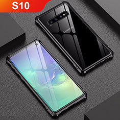 Coque Rebord Bumper Luxe Aluminum Metal Miroir Housse Etui A01 pour Samsung Galaxy S10 Noir