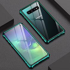 Coque Rebord Bumper Luxe Aluminum Metal Miroir Housse Etui A01 pour Samsung Galaxy S10 Vert