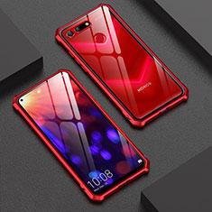 Coque Rebord Bumper Luxe Aluminum Metal Miroir Housse Etui M01 pour Huawei Honor V20 Rouge