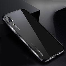 Coque Rebord Bumper Luxe Aluminum Metal Miroir Housse Etui M01 pour Huawei P20 Noir