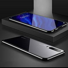 Coque Rebord Bumper Luxe Aluminum Metal Miroir Housse Etui M01 pour Huawei P30 Noir