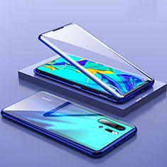 Coque Rebord Bumper Luxe Aluminum Metal Miroir Housse Etui M01 pour Huawei P30 Pro Bleu