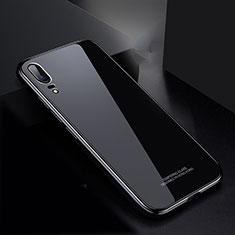 Coque Rebord Bumper Luxe Aluminum Metal Miroir Housse Etui M02 pour Huawei P20 Noir