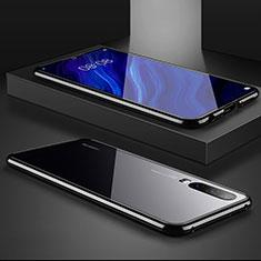 Coque Rebord Bumper Luxe Aluminum Metal Miroir Housse Etui M02 pour Huawei P30 Noir