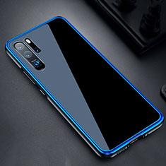 Coque Rebord Bumper Luxe Aluminum Metal Miroir Housse Etui M03 pour Huawei P30 Pro Bleu