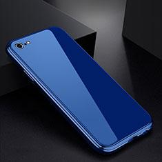 Coque Rebord Bumper Luxe Aluminum Metal Miroir Housse Etui pour Apple iPhone 6S Plus Bleu