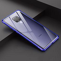 Coque Rebord Bumper Luxe Aluminum Metal Miroir Housse Etui pour Huawei Mate 20 X Bleu