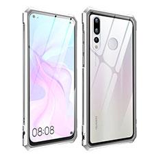 Coque Rebord Bumper Luxe Aluminum Metal Miroir Housse Etui pour Huawei Nova 4 Argent