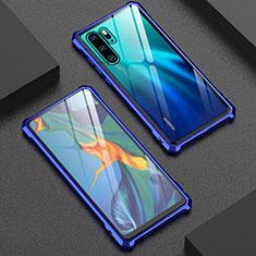 Coque Rebord Bumper Luxe Aluminum Metal Miroir Housse Etui pour Huawei P30 Pro New Edition Bleu