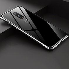 Coque Rebord Bumper Luxe Aluminum Metal Miroir Housse Etui pour OnePlus 6T Argent