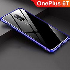 Coque Rebord Bumper Luxe Aluminum Metal Miroir Housse Etui pour OnePlus 6T Bleu