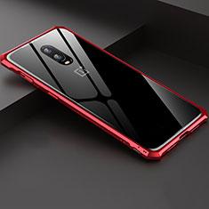 Coque Rebord Bumper Luxe Aluminum Metal Miroir Housse Etui pour OnePlus 6T Rouge