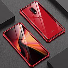 Coque Rebord Bumper Luxe Aluminum Metal Miroir Housse Etui pour OnePlus 7 Rouge