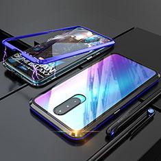 Coque Rebord Bumper Luxe Aluminum Metal Miroir Housse Etui pour Oppo RX17 Pro Bleu