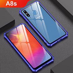 Coque Rebord Bumper Luxe Aluminum Metal Miroir Housse Etui pour Samsung Galaxy A8s SM-G8870 Bleu