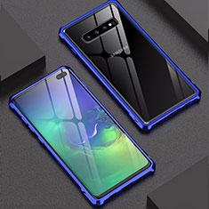 Coque Rebord Bumper Luxe Aluminum Metal Miroir Housse Etui pour Samsung Galaxy S10 Plus Bleu