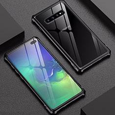 Coque Rebord Bumper Luxe Aluminum Metal Miroir Housse Etui pour Samsung Galaxy S10 Plus Noir
